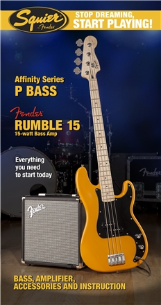 Stop Dreaming, Start Playing!™ Set: Affinity Series™ Precision Bass® with Fender® Rumble™ 15 Amp - Butterscotch Blonde