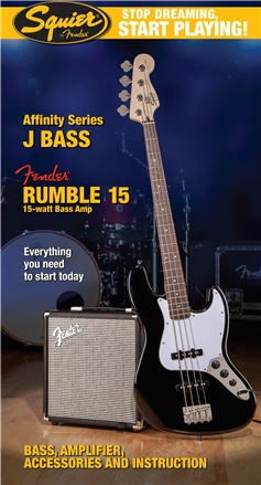Stop Dreaming, Start Playing!™ Set: Affinity Series™ Jazz Bass® with Fender® Rumble™ 15 Amp - Black