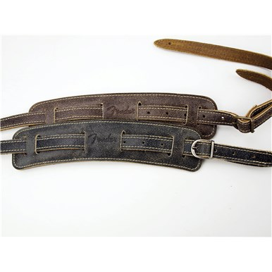 Fender Vintage-Style Distressed Leather Straps - Black
