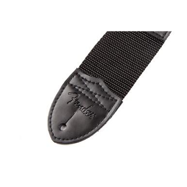 Fender® Black Polyester Logo Straps - Black with Red Logo