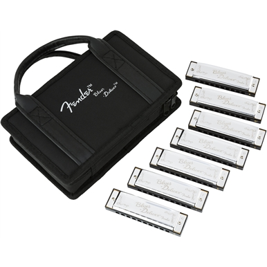 Fender® Blues Deluxe Harmonicas 7-Pack with Case -