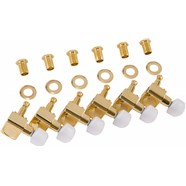 Deluxe Cast/Sealed Guitar Tuning Machines with Pearl Buttons (Set of 6) -