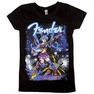 Fender® Girls' Anime Rocker T-Shirt - Black