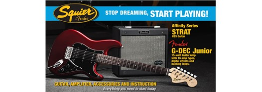 Stop Dreaming, Start Playing!™ Set: Affinity Series™ Strat® HSS with G-DEC® Junior Amp Candy Apple Red