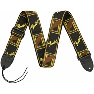 "Fender® 2"" Monogrammed Straps - Black/Yellow/Brown"