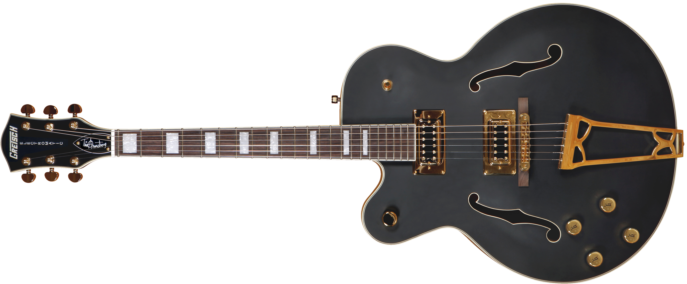 GRETSCH G5191BK Tim Armstrong Signature Electromatic Hollow Body, Left-Handed, Gold Hardware, Flat Black