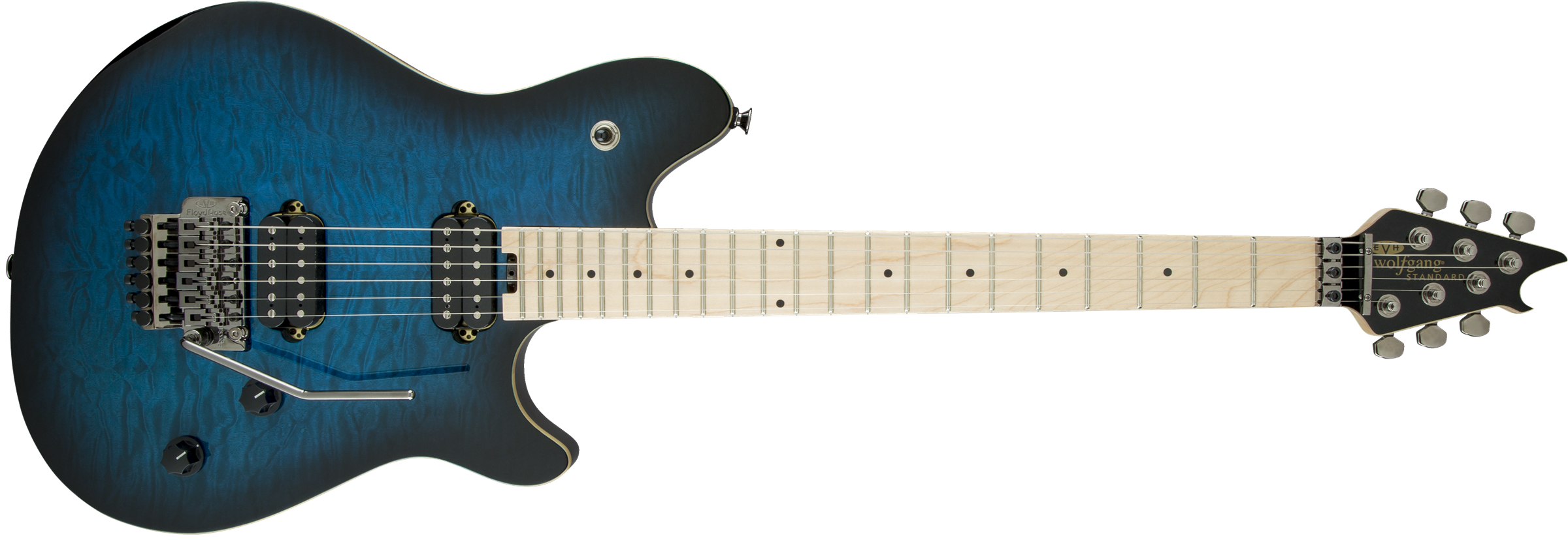 EVH® Wolfgang® WG Standard, Quilt Maple Top, Maple Fingerboard, Transparent Blue Burst
