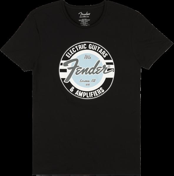 FENDER Fender Guitar and Amp Logo Mens Tee, Black/Daphne Blue, Large