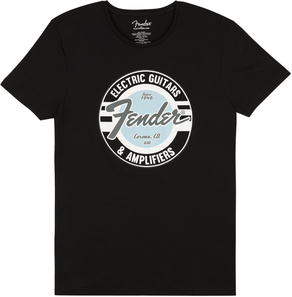 FENDER Fender Guitar and Amp Logo Mens Tee, Black/Daphne Blue, XL