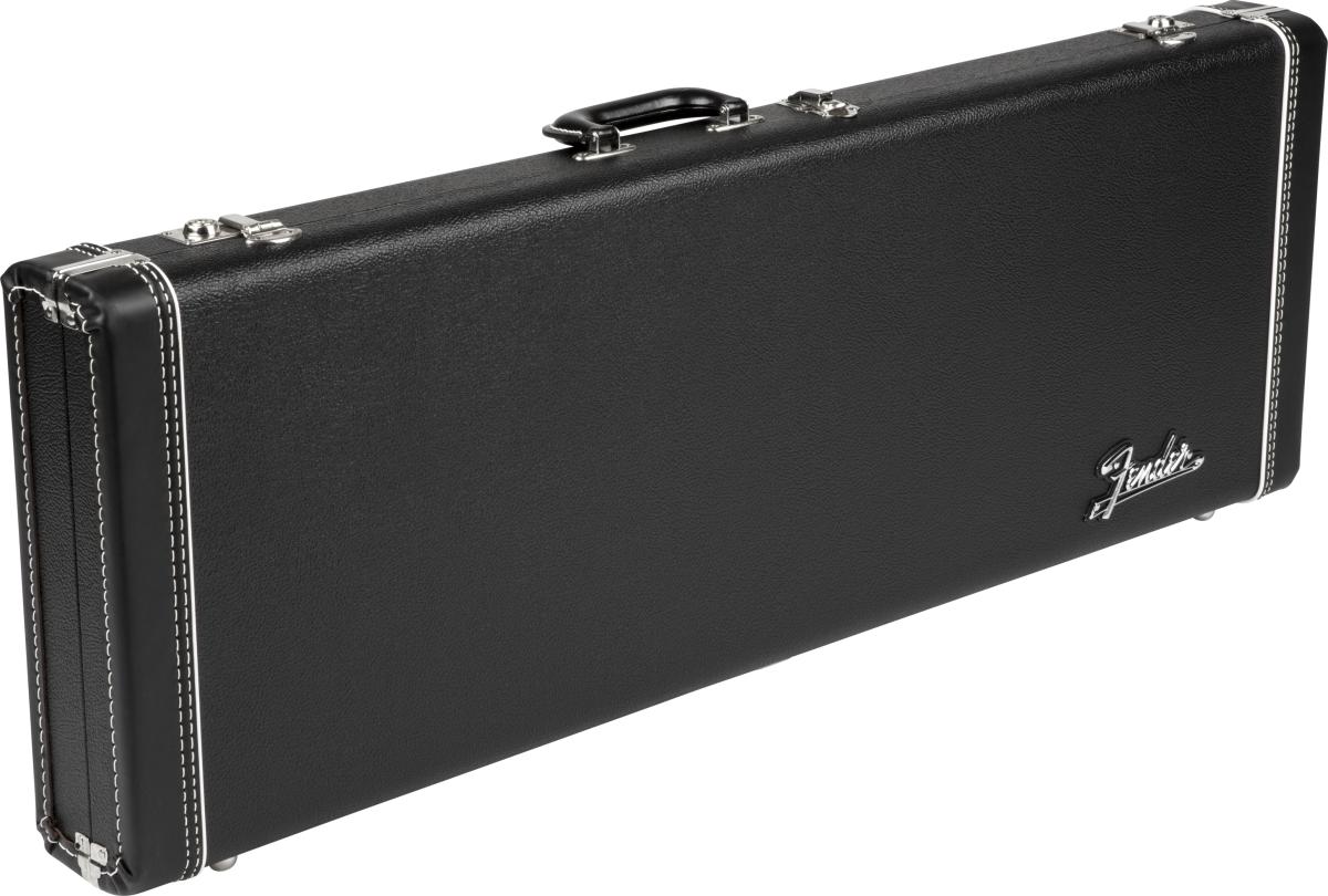 FENDER G&G Deluxe Strat/Tele Hardshell Case, Black with Orange Plush Interior, Fender Amp Logo
