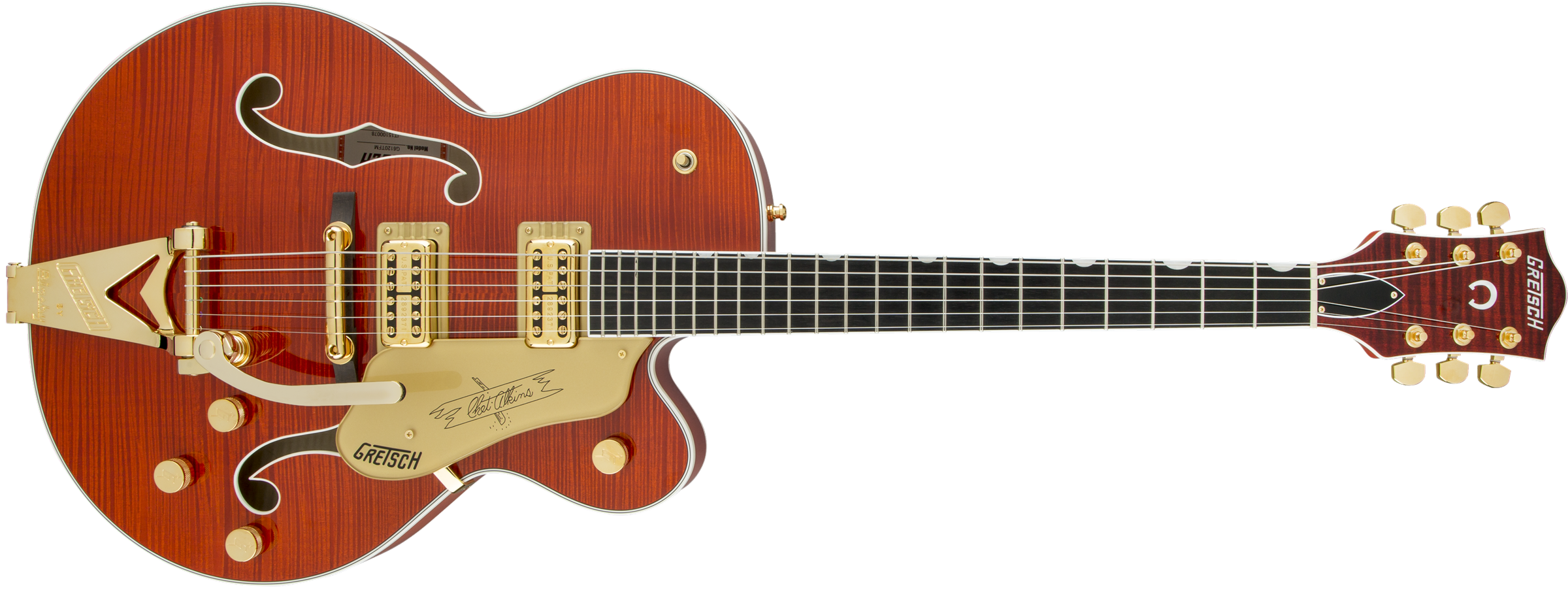 GRETSCH G6120TFM Players Edition Nashville with String-Thru Bigsby, FilterTron Pickups, Flame Maple, Orange Stain
