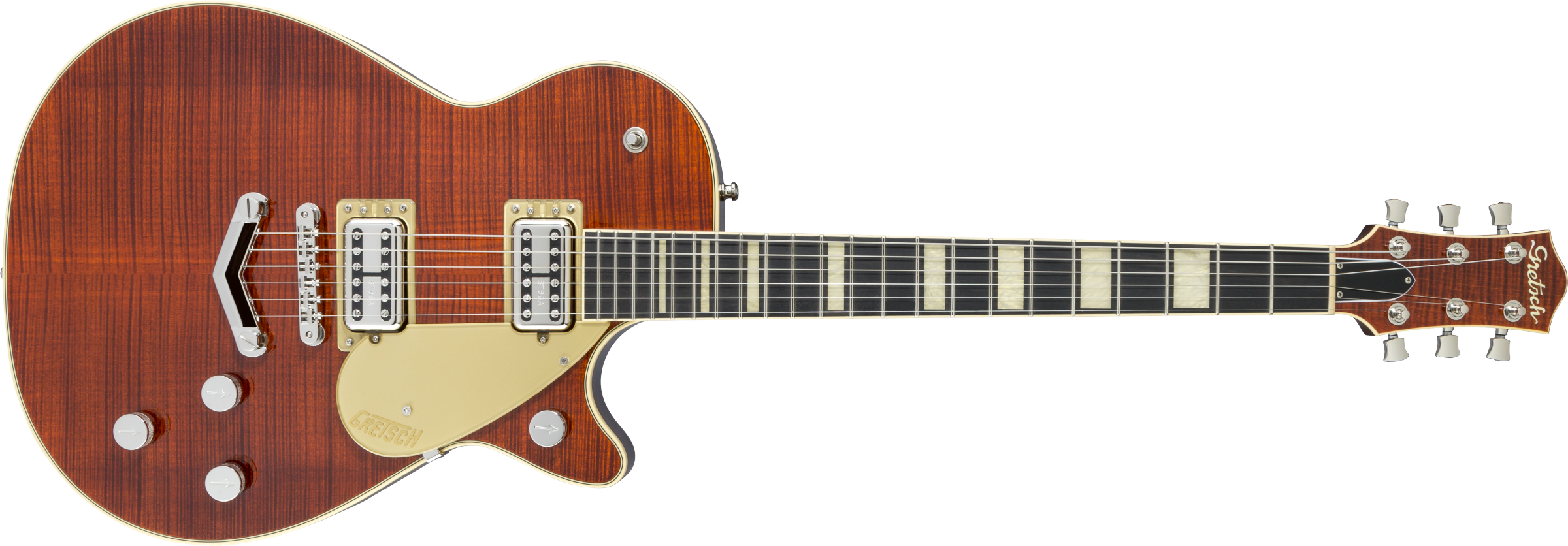 GRETSCH G6228FM Players Edition Jet BT With V-Stoptail, Flame Maple, Ebony Fingerboard, Bourbon Stain