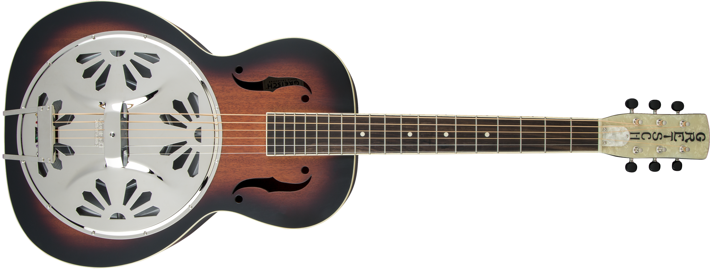GRETSCH G9220 Bobtail Round-Neck A.E., Mahogany Body Spider Cone Resonator Guitar, Fishman Nashville Resonator Pickup, 2-Color Sunburst