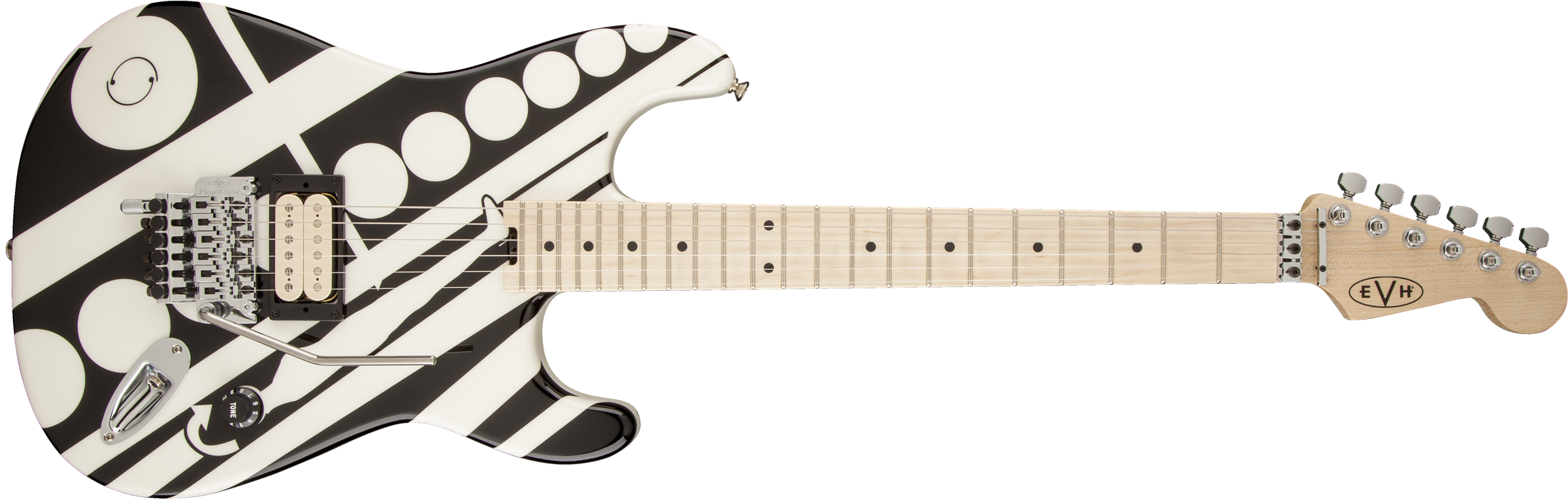 EVH® Striped Series Circles, Maple Fingerboard, Black and White Crop Circles Graphic