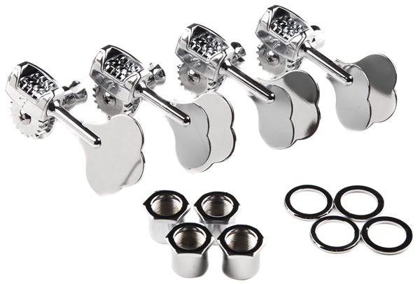FENDER Deluxe F Stamp Bass Tuning Machines, (4), Chrome
