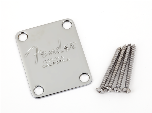 FENDER 4-Bolt American Series Bass Neck Plate with Fender Corona Stamp (Chrome)