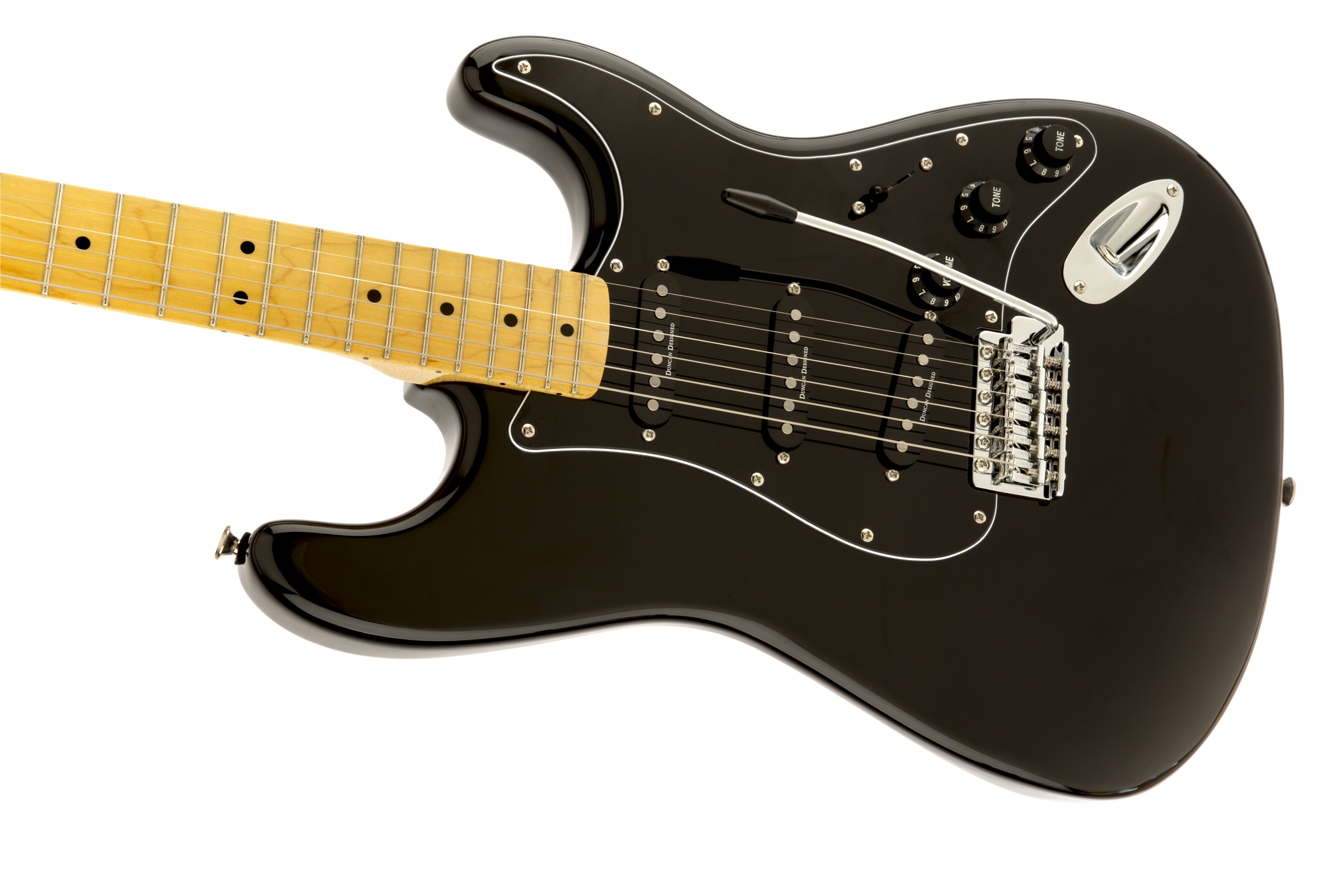 squier vintage modified 39 70s stratocaster maple fingerboard black squier electric guitars. Black Bedroom Furniture Sets. Home Design Ideas