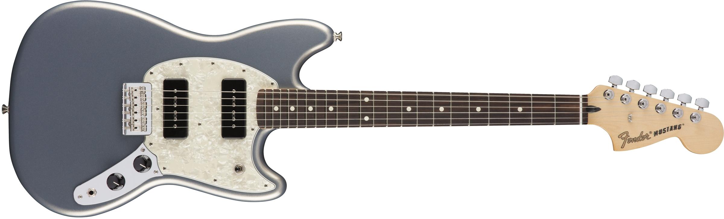 Fender Mustang 90 Rosewood Fingerboard Silver