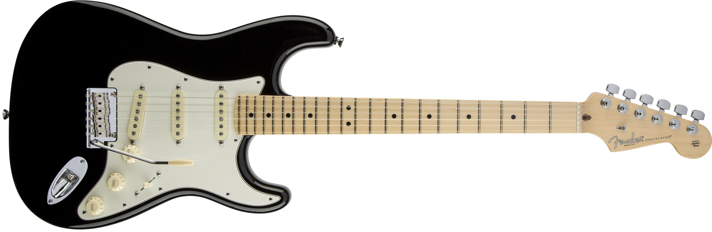 american standard stratocaster maple fingerboard black fender electric guitars. Black Bedroom Furniture Sets. Home Design Ideas