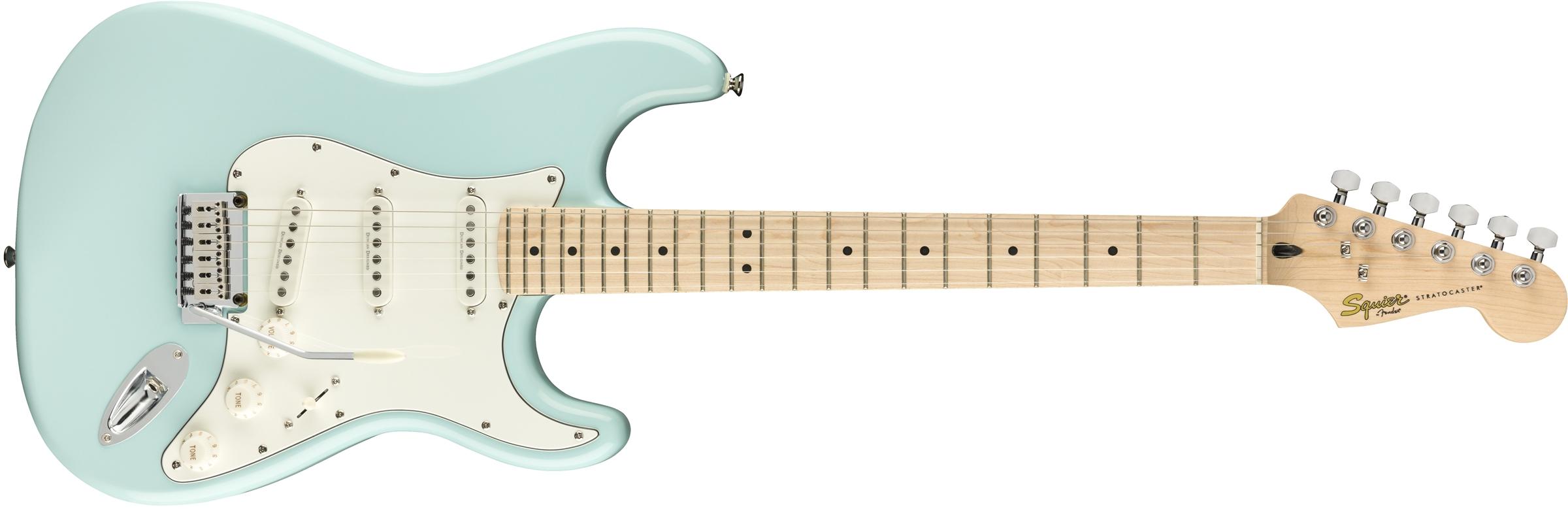 squier deluxe stratocaster maple fingerboard daphne blue squier electric guitars. Black Bedroom Furniture Sets. Home Design Ideas