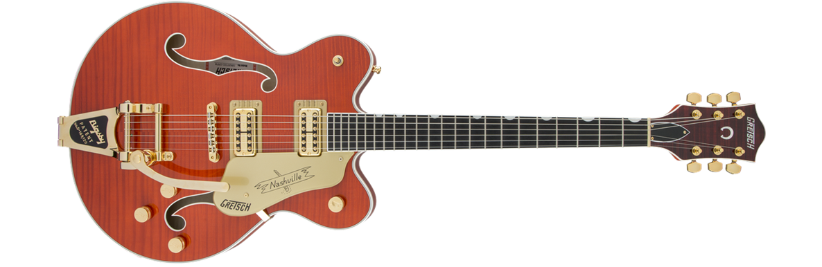 G6620TFM Players Edition Nashville® Center Block Double-Cut with String-Thru Bigsby® Filter'Tron™ Pickups, Tiger Flame Maple, Orange Stain