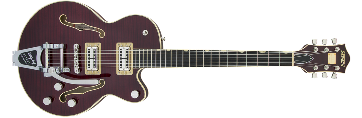 G6659TFM Players Edition Broadkaster® Jr. Center Block Single-Cut with String-Thru Bigsby®, USA Full'Tron™ Pickups, Tiger Flame Maple, Dark Cherry Stain