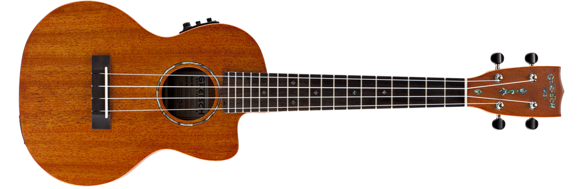 G9121 Tenor A.C.E. Ukulele with Gig Bag, Acoustic-Cutaway-Electric, Fishman® Kula Pickup, Honey Mahogany Stain