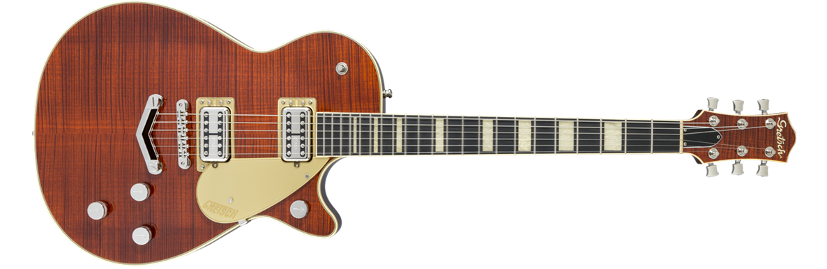 G6228FM Players Edition Jet™ BT With V-Stoptail, Flame Maple, Ebony Fingerboard, Bourbon Stain