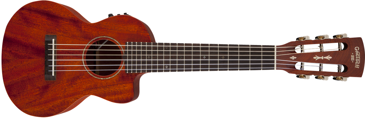 G9126-A.C.E. Guitar-Ukulele, Acoustic-Cutaway-Electric with Gig Bag, Fishman® Kula Pickup, Honey Mahogany Stain