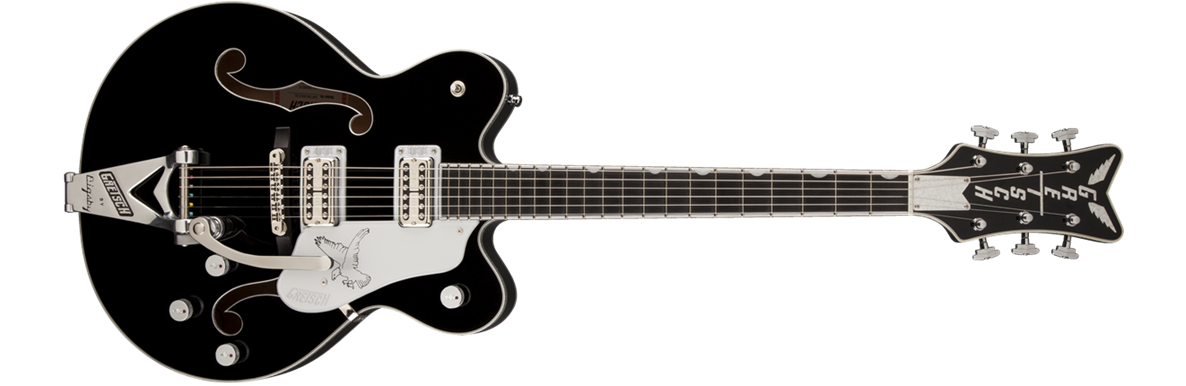 G6139T-CBDCSL White Falcon™ Center Block with Bigsby, Double Cutaway, Ebony Fingerboard, Black