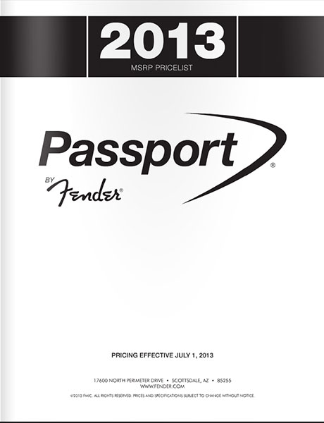 2013 MSRP Price List for Passport® by Fender®
