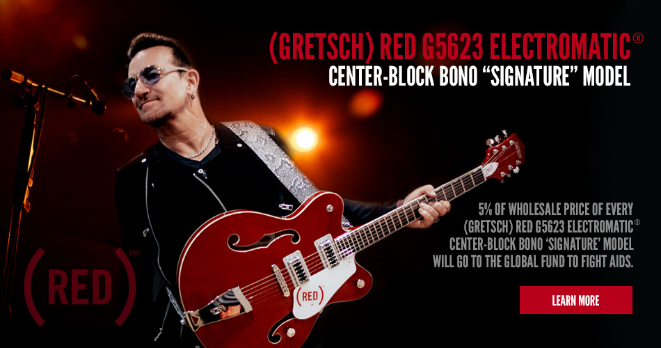 5% of wholesale price of every (GRETSCH) RED G5623 Electromatic Center-Block Bono 'Signature' Model will go to the Global Fund to fight AIDS.