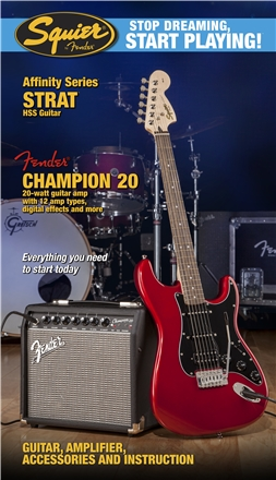 Stop Dreaming, Start Playing!™ Set: Affinity Series™ Strat® HSS with Fender® Champion™ 20 Amp - Candy Apple Red