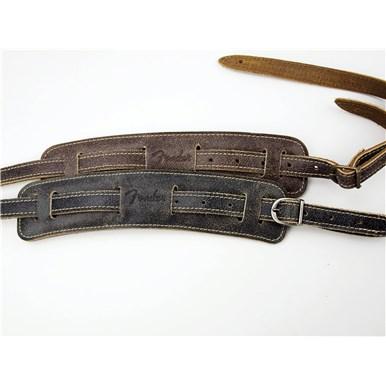 Fender Vintage-Style Distressed Leather Straps - Black