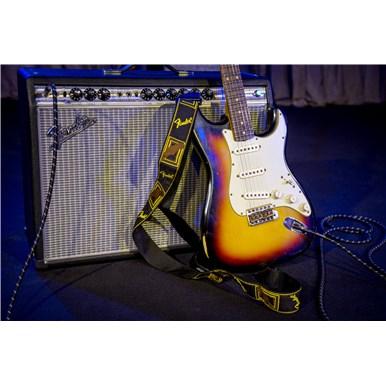 "Fender® 2"" Monogrammed Straps - Black/Yellow/Brown"