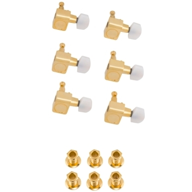 Deluxe Cast/Sealed Guitar Tuning Machines with Pearl Buttons (Set of 6) view 1.0