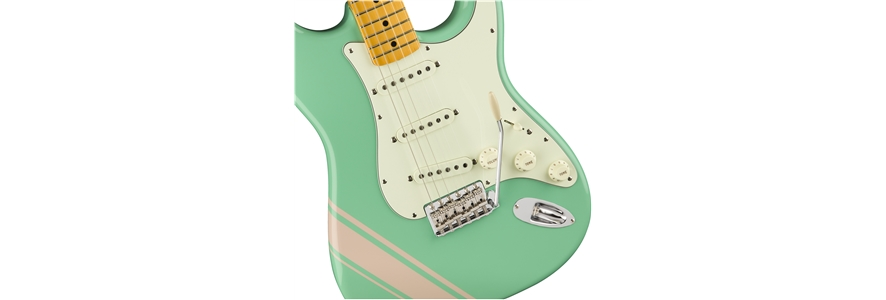 FSR Traditional '50s Stratocaster® with Stripe - Surf Green with Shell Pink Stripes