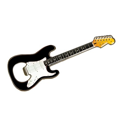 Fender™ Stratocaster™ Black Bottle Opener Magnet -