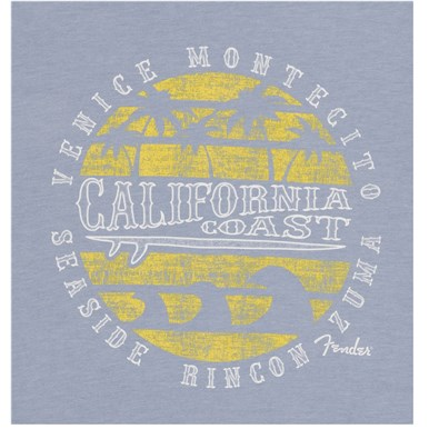 Fender® Cali Coastal Yellow Waves Men's Tee - Blue
