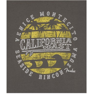 Fender Cali Coastal Yellow Waves Men's T-Shirt - Gray