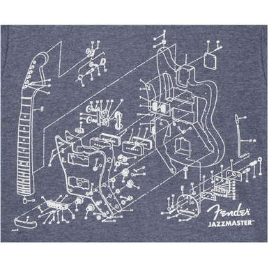 Fender® Jazzmaster® Patent Drawing T-Shirt - Blue