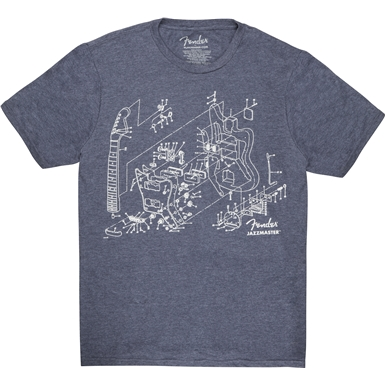 Fender® Jazzmaster® Patent Drawing T-Shirt - Blue