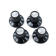 Black/Silver Skirted Push-On Style Amplifier Knobs -