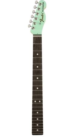 "Limited Edition American Standard Telecaster Neck, 22 Medium Jumbo Frets, 9.5"" Radius, Ebony, Surf Green Headcap w/Tuners -"