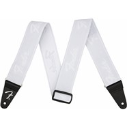 Fender® WeighLess™ Running Logo Strap - White
