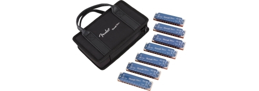 Fender® Midnight Blues Harmonicas - 7-Pack with Case -