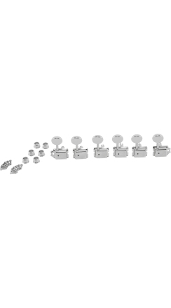 American Vintage Staggered Tuning Machines, Nickel/Chrome (6) -
