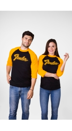 Fender® Doodle 3/4 Sleeve Raglan Shirt - Black and Yellow