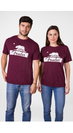 Fender® Burgundy Bear Unisex T-Shirt - Burgundy