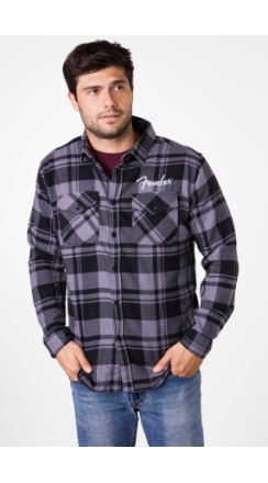 Fender® Men's Flannel Shirt - Black and Gray